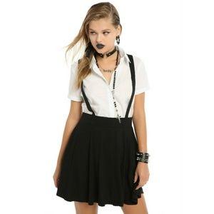 Black suspender skirt - gothic skirt - witch skirt